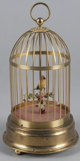 German bird in cage music box, 12 1/2'' h.