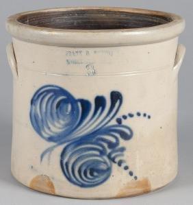 Massachusetts Three-gallon Stoneware Crock, 19th