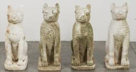 Four Egyptian carved stone cats, 20 1/2'' h.