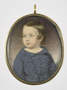 Miniature watercolor on ivory portrait of a child