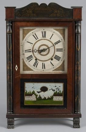 Federal mahogany shelf clock, 19th c., labeled by
