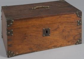 Camphorwood campaign box, 19th c., inscribed A.G