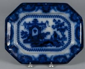Flow blue Oregon platter, 19th c., 12 1/4'' l., 15