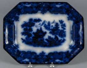 Flow blue Formosa platter, 19th c., 12'' l., 15 1/