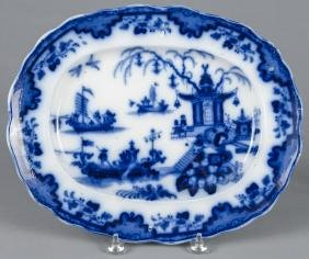 Flow blue Macao platter, 19th c., 12 1/4'' l., 15''