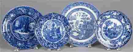 Four blue Staffordshire plates, 19th/20th c., 8''