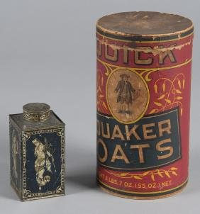 Quick Quaker Oats lithograph canister, 9 1/2'' h.,