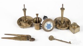 Group of brass, to include curtain tiebacks, jagg