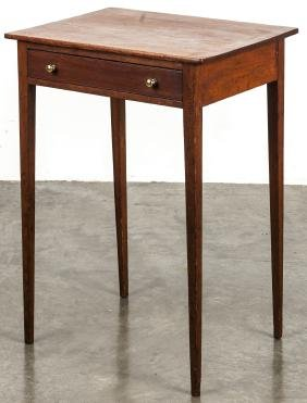 Pine and cherry one-drawer stand, early 19th c.,