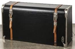 Bigler leather automobile trunk, 20'' h., 38'' w.