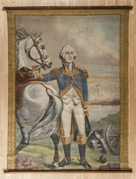 Large oil on canvas banner of General George Wash