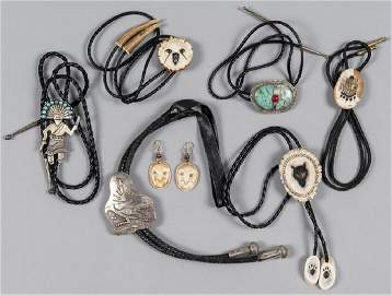 Group of Native American bolo ties, to include a