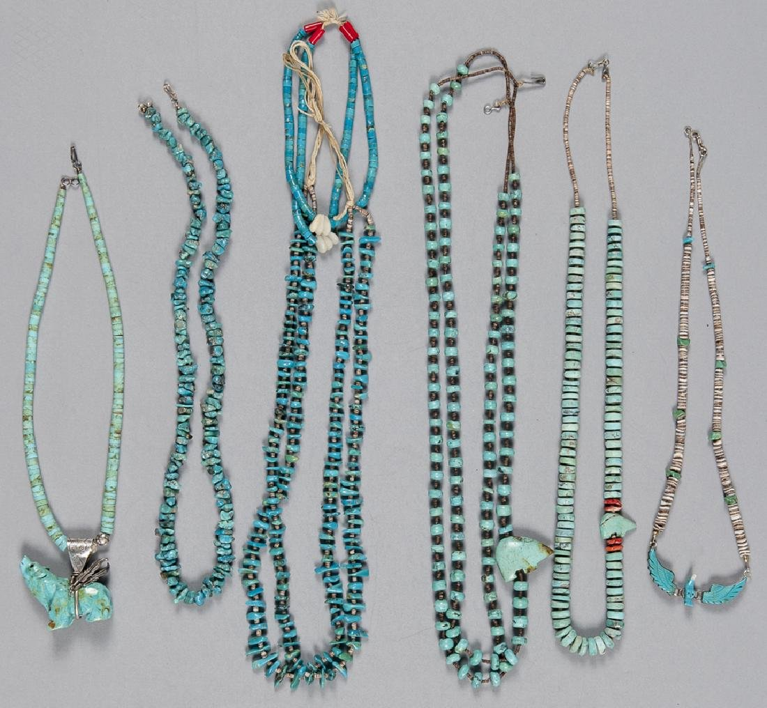 Six Southwestern Native American turquoise beaded