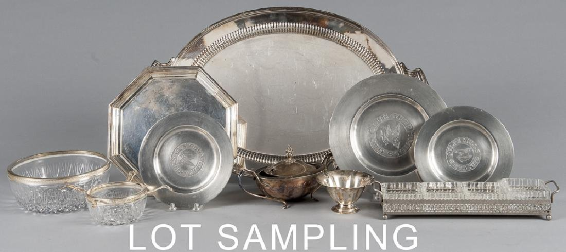 Large group of silver plate and reproduction pewt