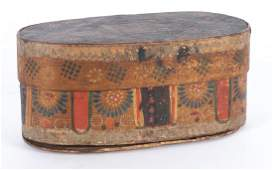 Continental painted bentwood box, 19th c., 4 1/4''