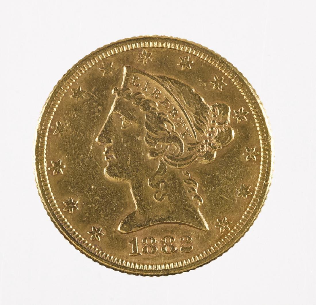 Five dollar Liberty Head gold coin, 1882.
