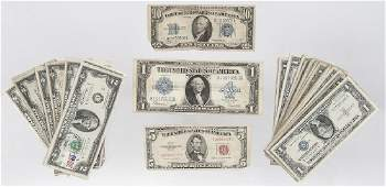 Assorted US currency to include fifty pieces of