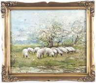 Oil on canvas landscape with sheep, early 20th c.
