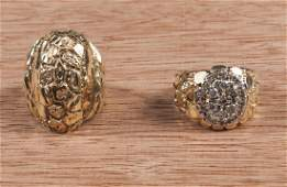 Men's 14K yellow gold ring set with a cluster of