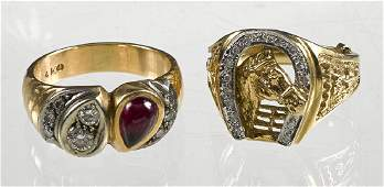 14K gold diamond and ruby ring with eight diam
