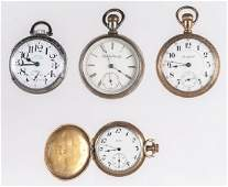 Group of four pocket watches to include a stainl