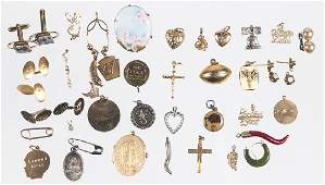 Assorted cufflinks charms and jewelry to inclu
