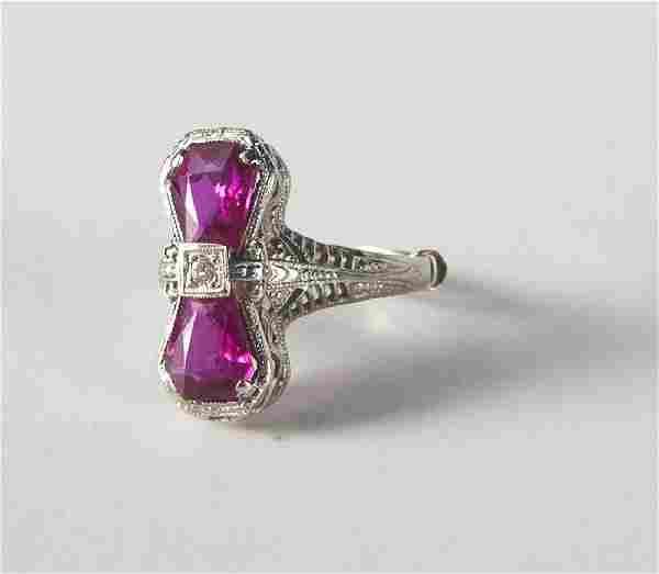 Art Deco 14K white gold, diamond, and ruby ring