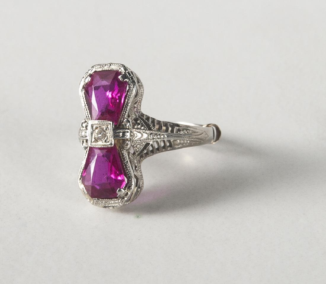 Art Deco 14K white gold, diamond, and ruby ring