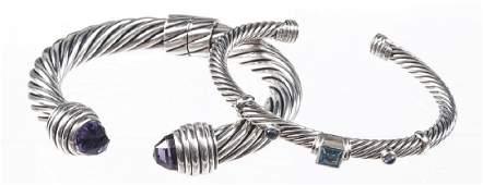 Two David Yurman sterling silver cuff bracelets