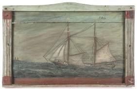 Primitive Oil On Board Seascape, Early/mid 20th C