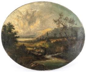 Hudson River Oil On Canvas Landscape, Ca. 1860, W