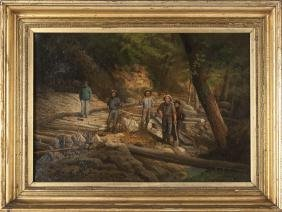 American Oil On Canvas Of Figures Working In A Wo
