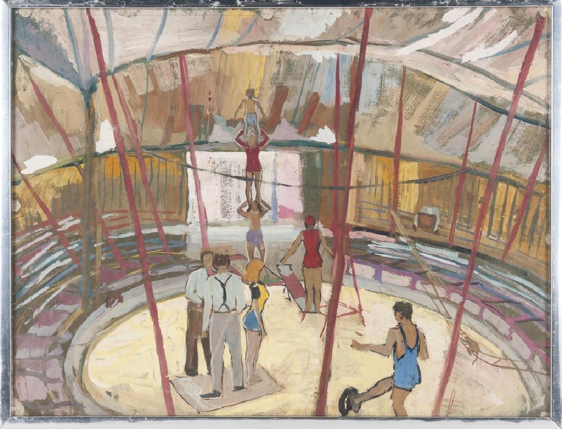 Oil on board of acrobats, 19'' x 24 1/2''.