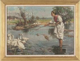 Oil On Canvas Of A Woman With Geese, Dated 1922