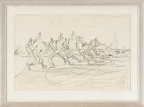 Pencil Of Fishermen With Their Nets, Signed ''A. F