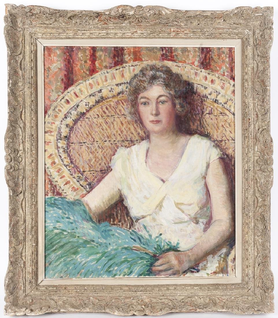 Oil on canvas portrait of a woman, in the manner