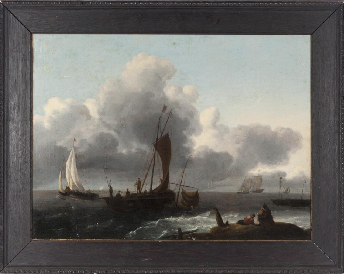 Continental oil on canvas seascape, 18th c., 18 1