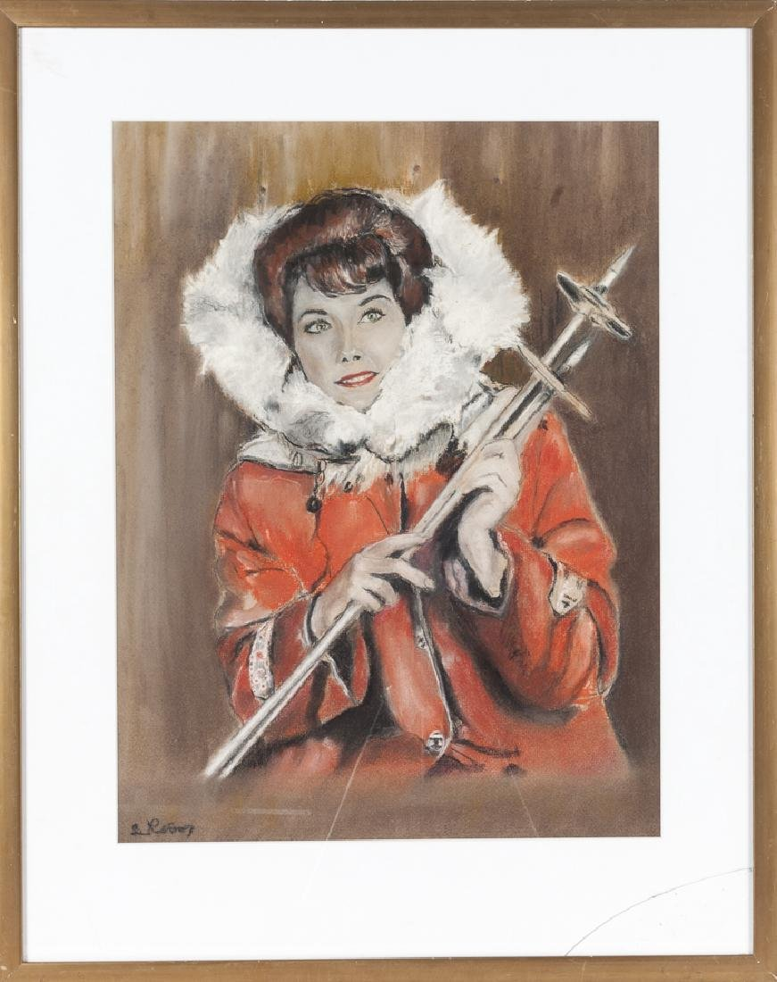 Pastel illustration of a woman with ski poles, si
