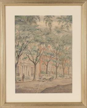 Watercolor Street Scene, Signed H. Brooks Price