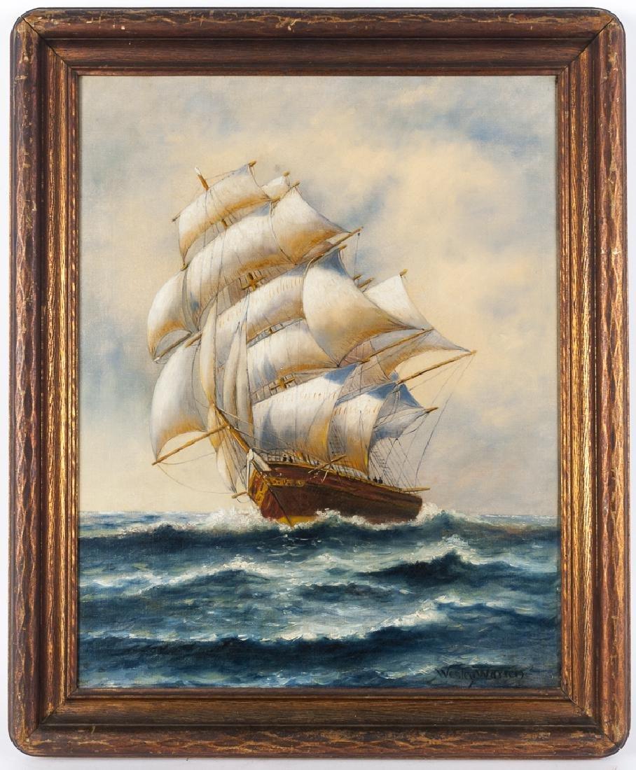 Oil on canvas seascape, signed Wesley Warren, 2