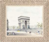 French oil on canvas of the Arc De Triomphe, 16''x