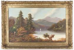 American oil on canvas landscape with lake, 20th