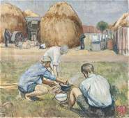 Oil on canvas landscape, mid 20th c., with figure