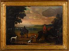 English school oil on canvas hunting scene
