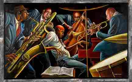Ernie Eugene Barnes Jr., oil on canvas
