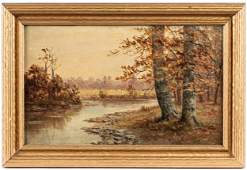 Three American oil on canvas landscapes