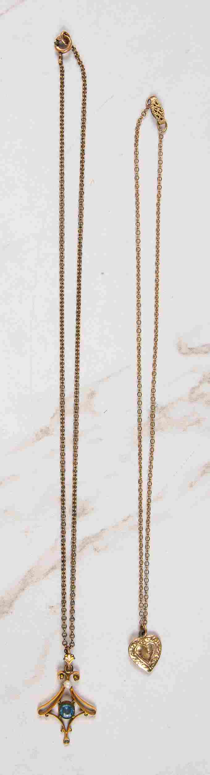 Two 14K gold necklaces