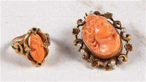 14K rose gold antique carved coral cameo jewelry