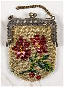 Small antique beaded change purse