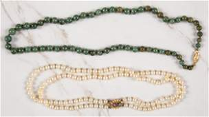 Double strand pearl necklace etc